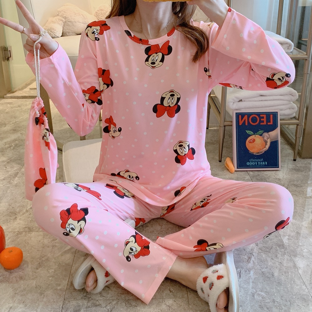 Cartoon Mouse Print Funny Pajama Sets For Women Long Sleeve And Trousers 2 Pcs Loose Comfort Pajamas For Woman
