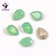 YANRUO Teardrop Pacific Opal Claw Crystals All for Needlework Sewn Rhinestones Glass Sewing Ornaments Diamond Stones