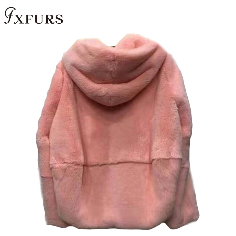 2019 Natural Real Rex Rabbit Fur Coat Whole Skin Fur Clothing Women Winter Hooded Short Jacket Long-sleeved Outerwear Coat Solid