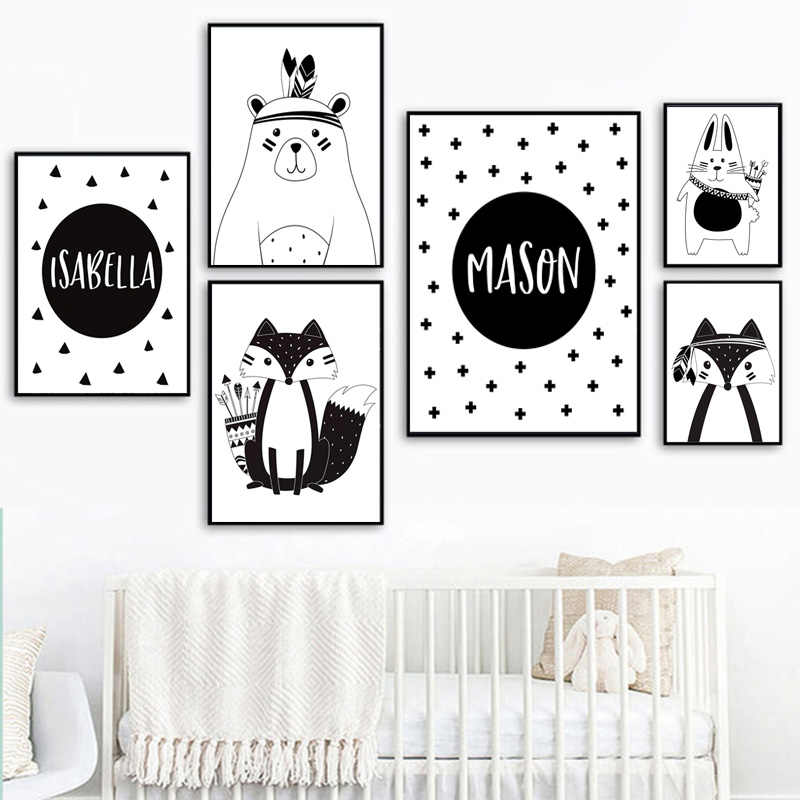 Black White Cartoon Bear Rabbit Baby Nursery Wall Art Canvas Poster Custom Name Print Painting Nordic Picture Kid Room Decor