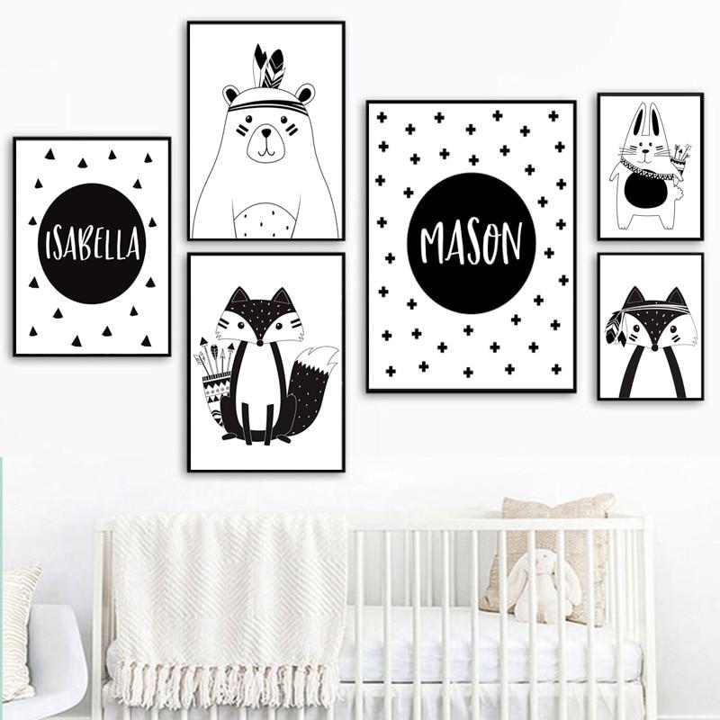 Black White Cartoon Bear Rabbit Baby