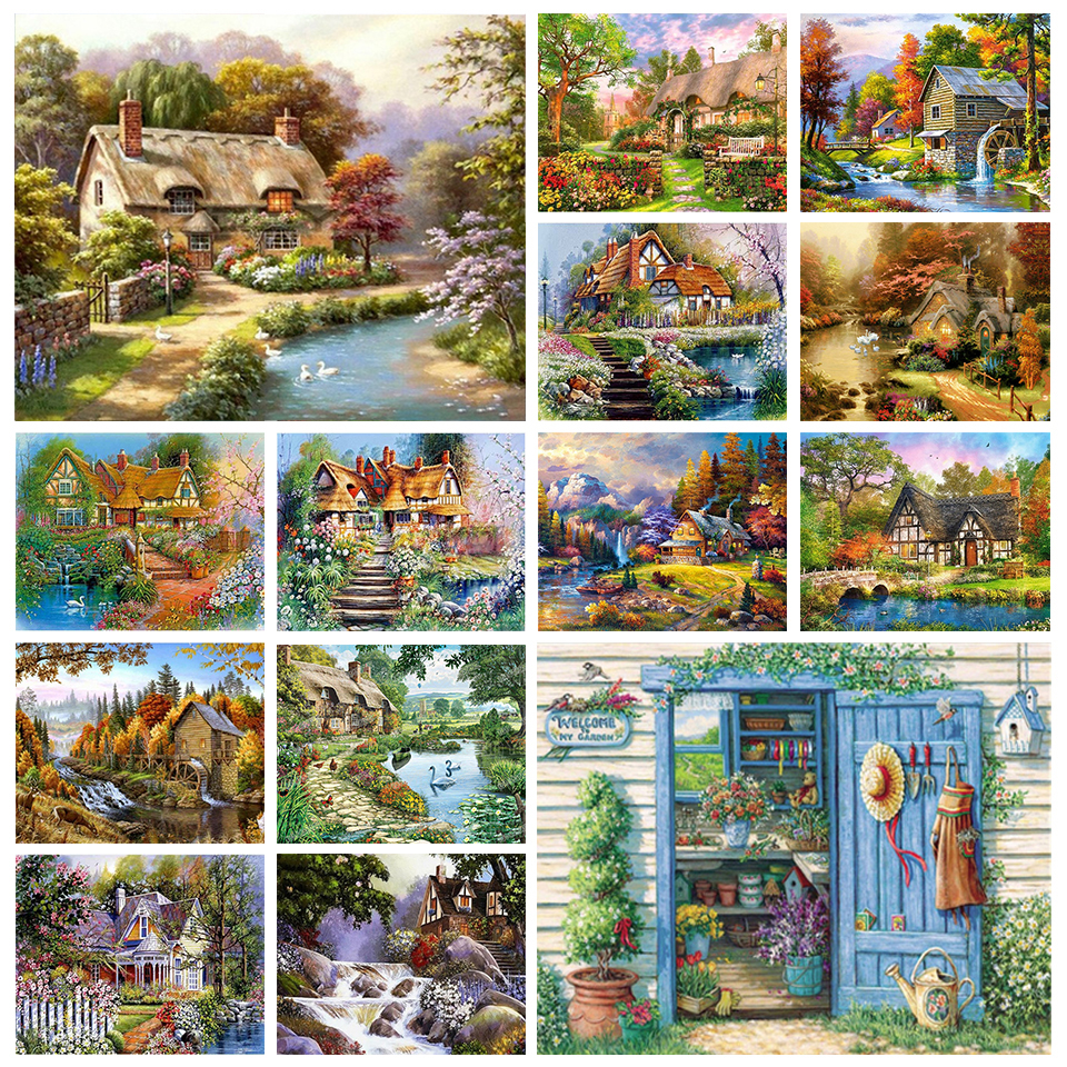 Полностью Квадратный бриллиант, 5D живопись Сельский пейзаж, алмазная вышивка, мозаика, искусство, живопись, вышивка крестиком, сделай сам, у...
