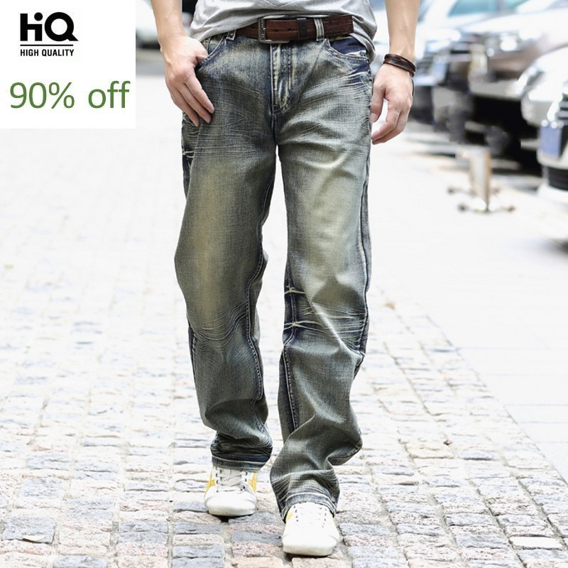 Fashion New 2020 Straight Loose Fit Jeans For Mens Smart Casual Pants Full Length Man Biker Jean Cowboy Pant Man Plus Size 40
