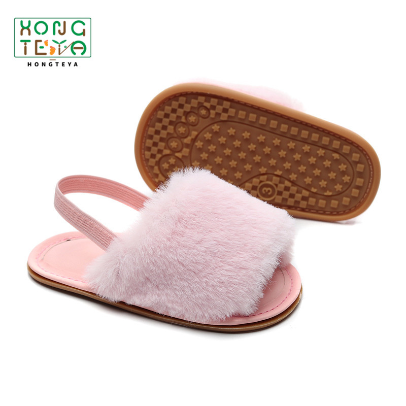2020 Summer New Baby Sandals Fur Slippers Baby Girls Shoes Infant Toddler First Walking Shoe Baby Moccasins Hot Sale
