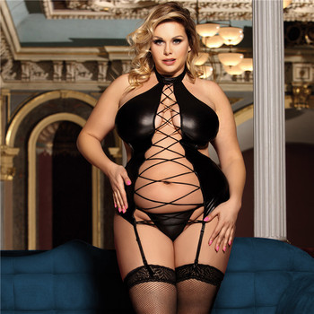Erotic Faux Leather Lingerie Bandage Backless Bustier Plus Size #F1630 1