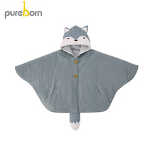 Pureborn Hooded Cloak Coat Toddler Kids Cotton Cape Poncho Baby Girls Boys Outer