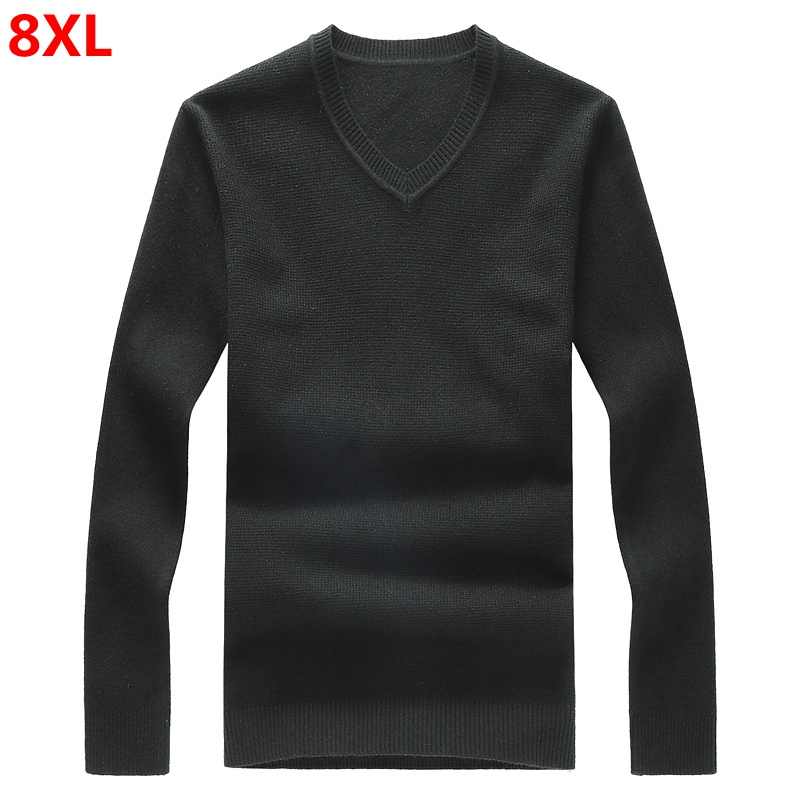 Large Sweater Shirt Men Plus Size 7XL Loose Sweater Youth Sweater Fine Sweater Men's New V-neck 8XL 6XL