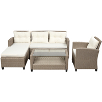 【USA in Stock】Living room,Outdoor, Patio Furniture Sets, 4pcs Conversation Set Wicker Ratten Sectional Sofa with Seat Cushions