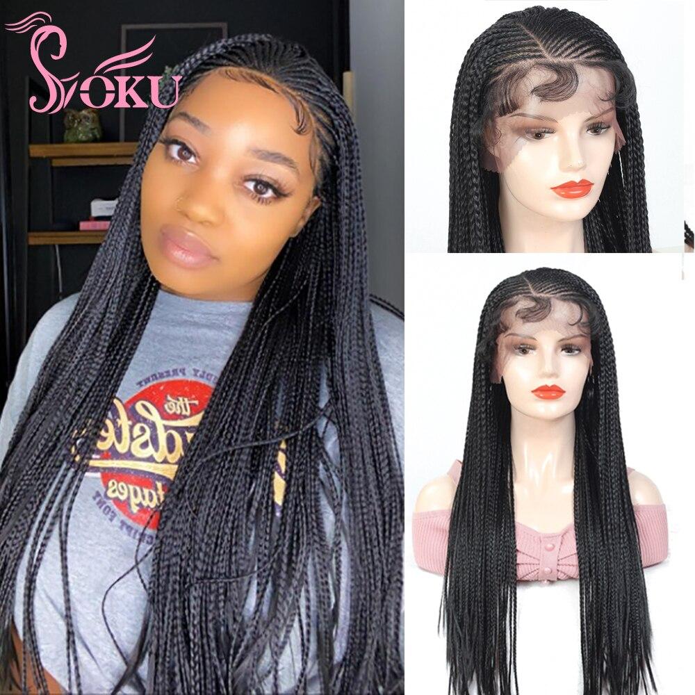 13x4 peruca trançada frontal do laço peruca dianteira do laço com o cabelo do bebê para preto africano mulher 28 polegadas caixa de soku tranças peruca sintética