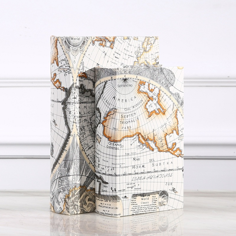 Wooden Storage Box Retro European Style World Map Security Safe Book Cash Money Jewelery Organizer Box