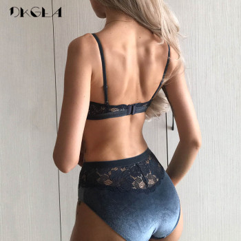 2019 New Velvet Bras Lace Lingerie Set Blue Thin Cotton Brassiere Women Underwear Set Wire Free Embroidery Sexy Bra Panties Sets 2