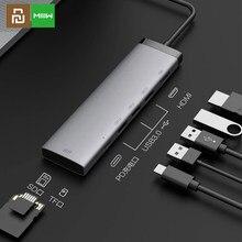 Youpin MIIIW-concentrador tipo C 7 en 1, Adaptador convertidor USB C 3x USB 3,0, salida de vídeo HD 4K, 100W, fuente de alimentación PD, lector de tarjetas