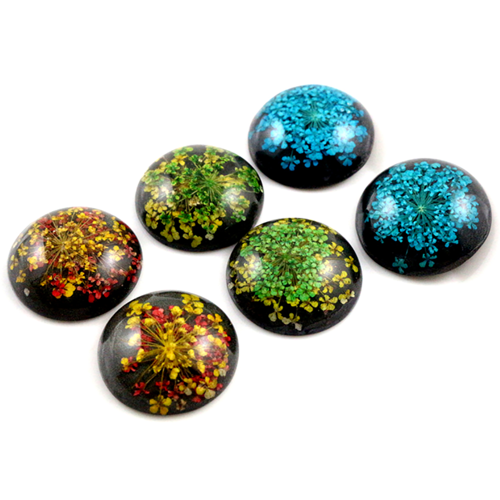New Fashion 5pcs 25mm 3 Style Natural Dried Flowers Flat Back Resin Cabochons Cameo
