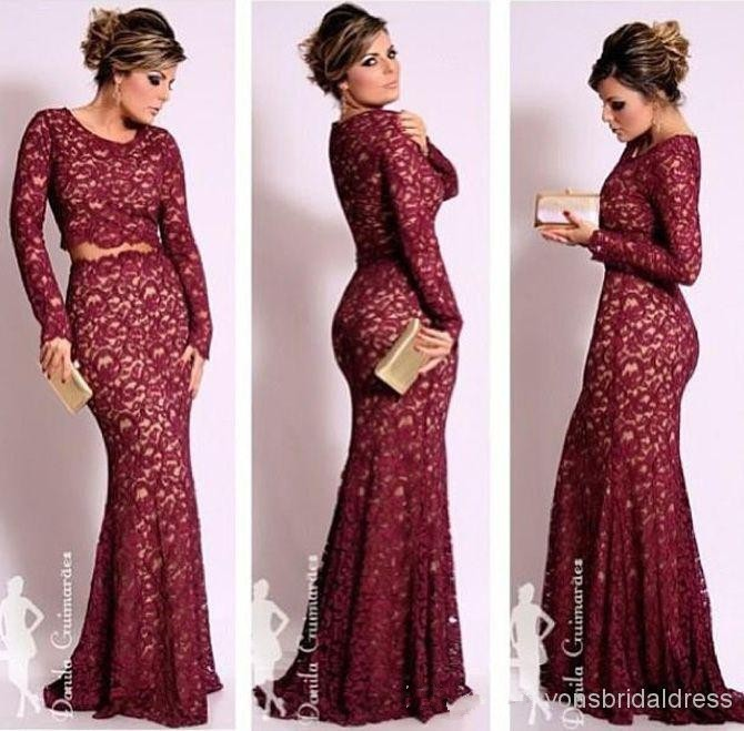 2018 Long Sleeves Lace Two Pieces Mermaid Scoop Neck Vintage Floor Length Prom Formal Evening Gown Mother Of The Bride Dresses