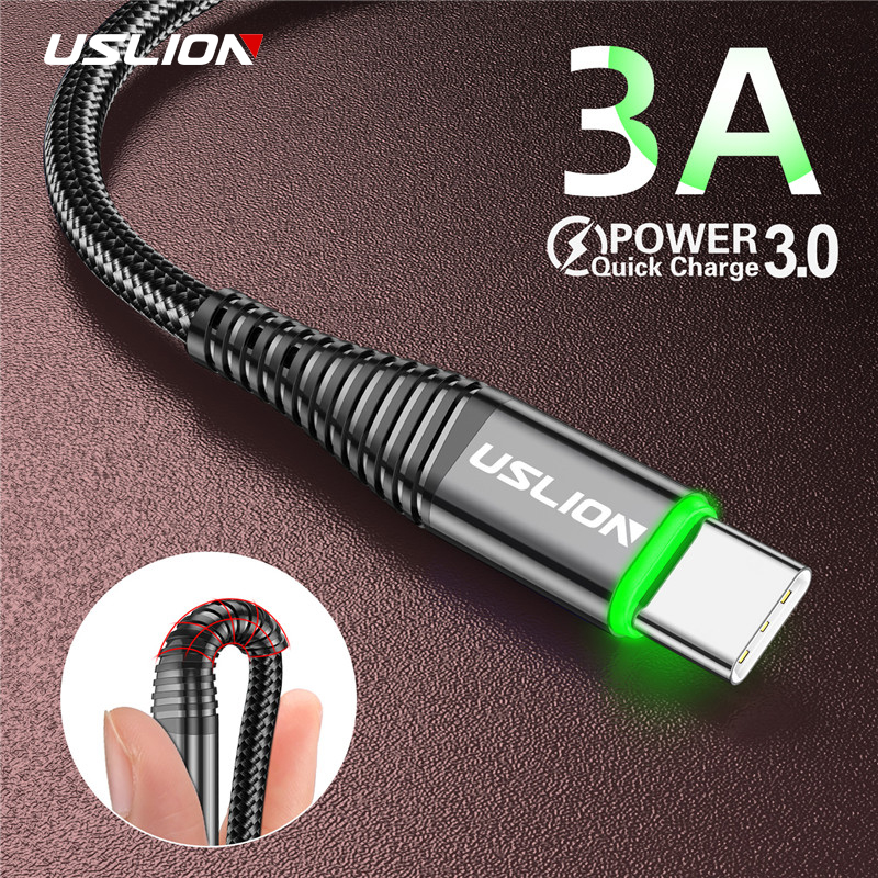 USLION 3A LED USB Type C Cable Fast Charge Wire Type-C for Samsung Galaxy Xiaomi Huawei title=
