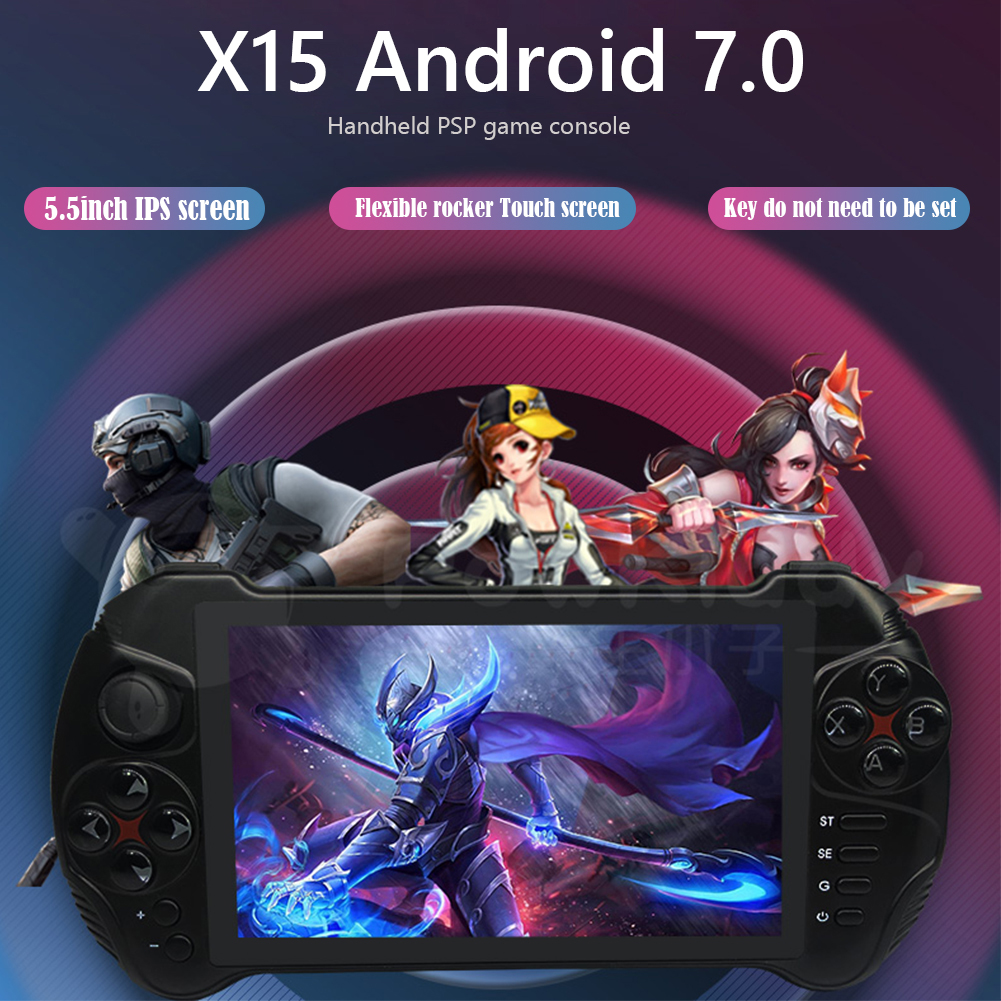 POWKIDDY X15 Andriod 7.0 Handheld Game Console 5.5'' 1280x720 Screen MTK8163 Quad Core 2G RAM 32G ROM Bluetooth 4.0 Video Player image