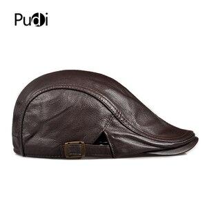 Image 4 - Pudi mens real leather baseball cap hat 2019 fashion new style soft leather beret belt trucker caps Crocodile Grain  HL007
