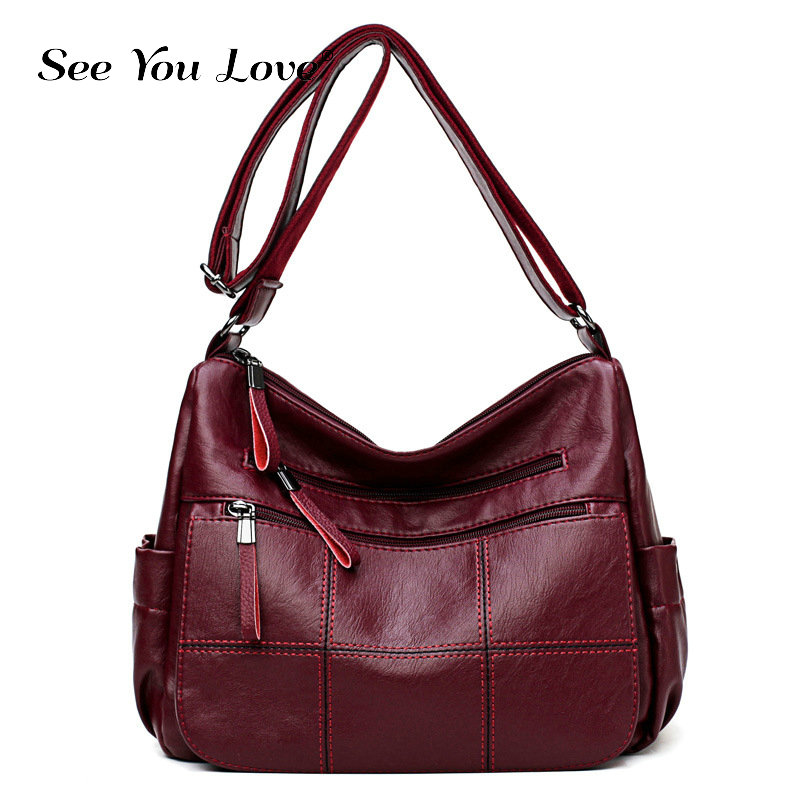 Vintage Crossbody Bags For women 2019 Luxury Brand Soft Leather Zipper Shoulder Messeneger Bags Black Clutch In Woman's Handbags
