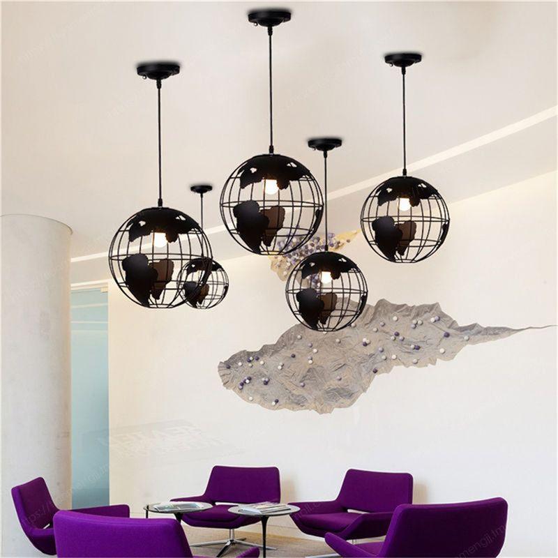 Black Creative Loft Continental Single Retro Globe Chandelier Modern Metallic Lounge Café Casual Ceiling Lamp