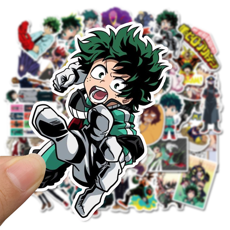 50pcs My Hero Academia Suitcase Stickers Skateboard Laptop Izuku Midoriya All Might Boku No Hero Academia Anime Character Decals