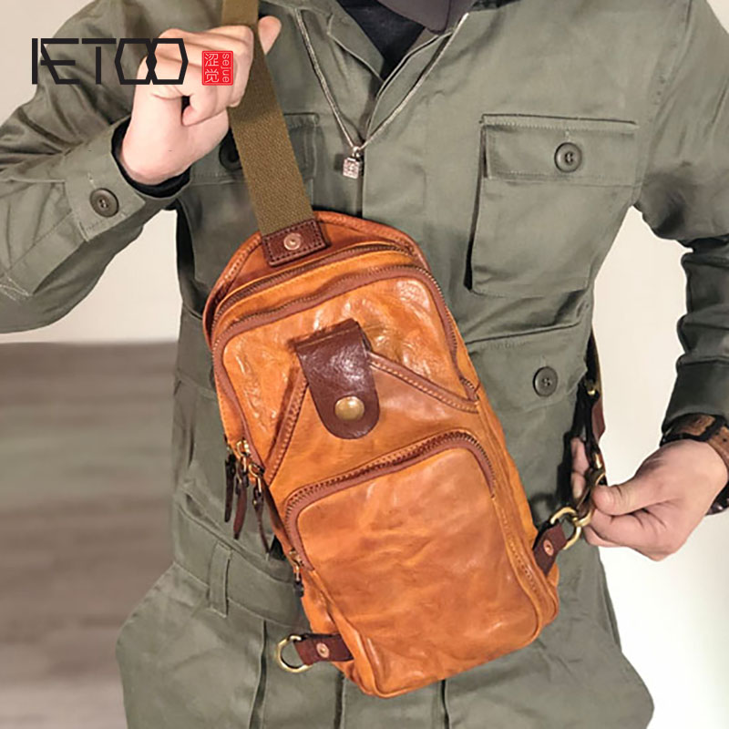 AETOO Handmade Men's Leather Bags, Trendy Chest Bags, Head-layer Leather Retro Pleated Sloping Bag