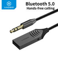 Hagibis Bluetooth 5.0 Receiver Car AUX 3.5mm Jack Wireless Adapter Audio Cable For Speaker Headphones Hands Free Call navigation