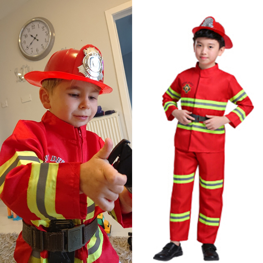 Fireman Uniform Anime Costume Cosplay Birthday Christmas Gift for Kids Boys Girls Carnival Firefighter Role-play Fancy Suit 2021