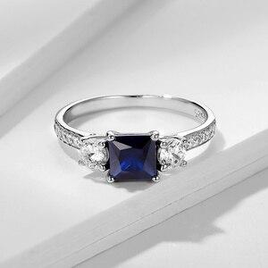 Image 3 - Kuololit 사파이어 보석 세트 여성을위한 반지 SQ 블루 스톤 솔리드 925 스털링 실버 주얼리 하프 사이즈 반지 결혼식 Size10