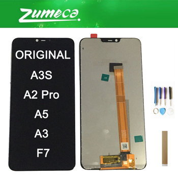 Original For Oppo A3S A2 Pro A5 A3 F7 LCD Display Screen+Touch Screen Digitizer Assembly Black Color With Tape&Tool 1