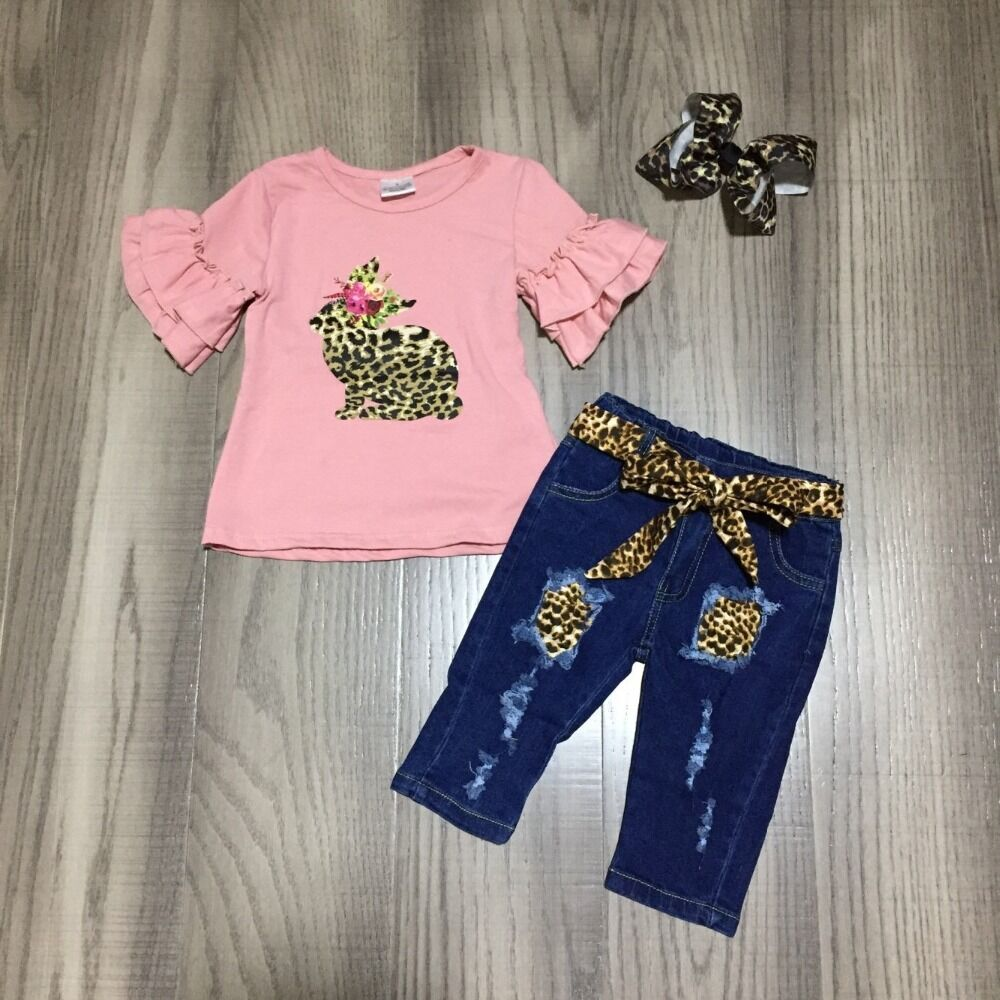 Baby Girls Easter Jean Outfits Girls Bunny Coral Shirt With Jean Capri Girls Leopard Outfit With Bow