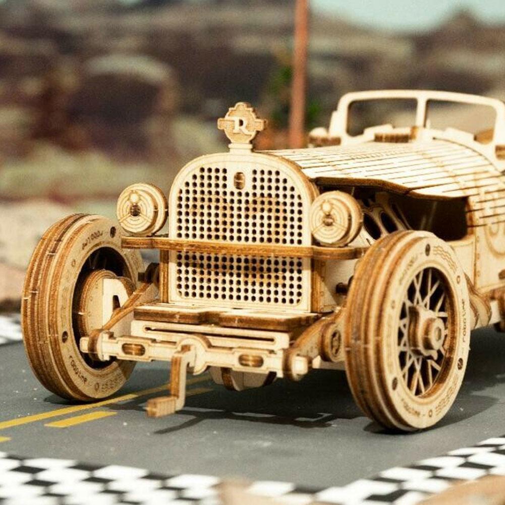 Locomotive Machinery Gear Wooden Model Kit Train Classic Model Toy Puzzle DIY Toy Puzzle Handmade Mechanical 3D Car Assembl Z3P6