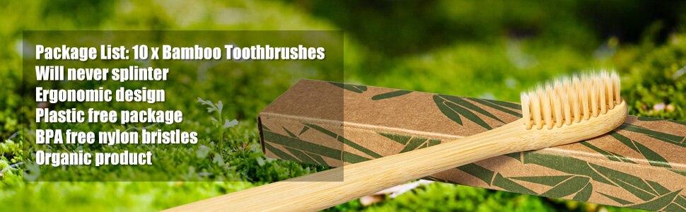 Escova de dentes de bambu de bambu