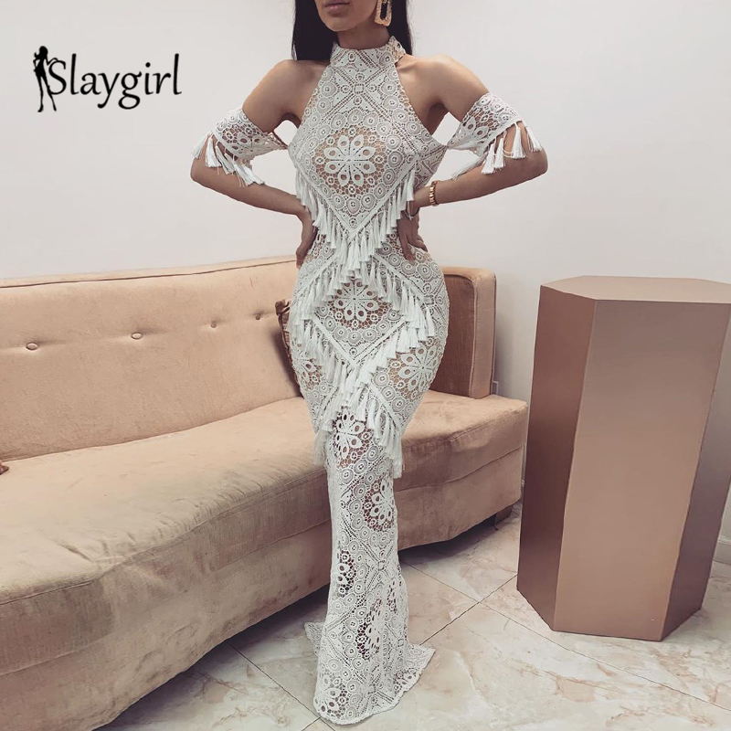 Slaygirl Tassel <font><b>Bodycon</b></font> <font><b>Sexy</b></font> Long <font><b>Dress</b></font> Women Off Shoulder Party Maxi <font><b>Dress</b></font> Fashion White Lace Clubwear <font><b>Dress</b></font> Female Vestidos image