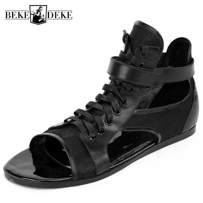 Sandales En Cuir De haute Qualité Hommes Personnalisé Noir à lacets Extérieur Gladiateur Sandales Marque Baskets Chaussures De Plage D'été Hombre-in Sandales homme from Chaussures    1
