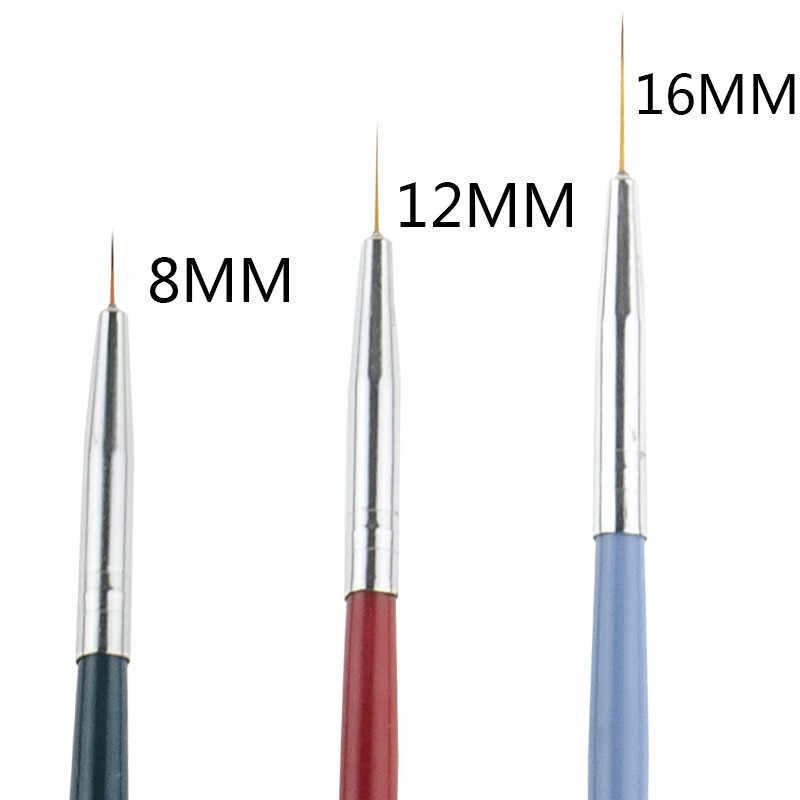 3Pcs/Set Nail Art Liner Painting Pen Tips Pro Female Acrylic UV Gel Drawing Pen Kit Flower Line Grid French Design Manicure Tool