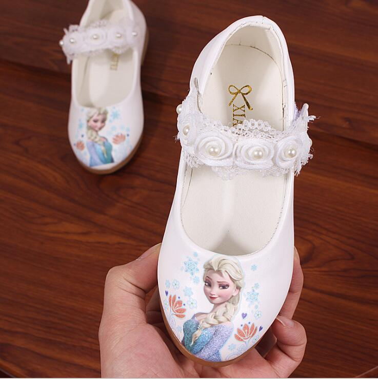 New Kids Elsa Casual Shoes Girls Snow Princess Soft Cartoon Shoes Children's Cartoon Pearl Leather Shoes