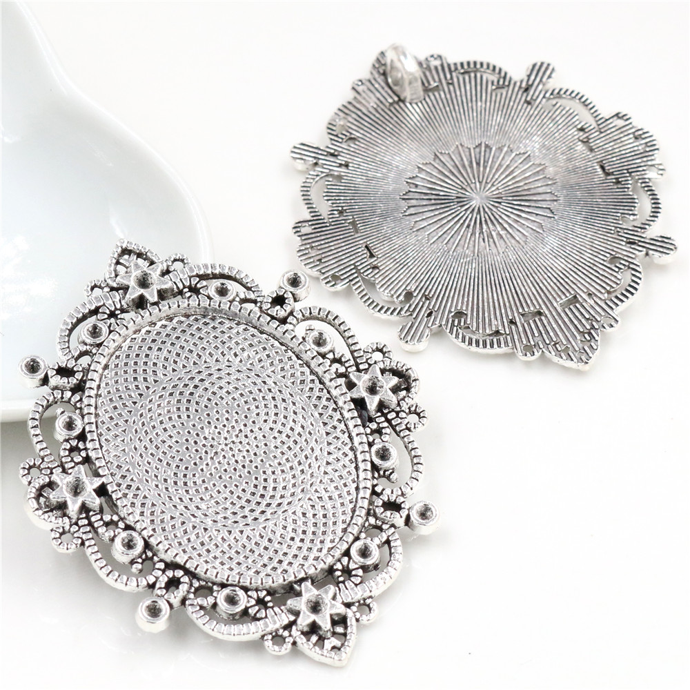 5pcs 30x40mm Inner Size Antique Silver Plated  Pierced Style Cabochon Base Setting Charms Pendant (B4-25)