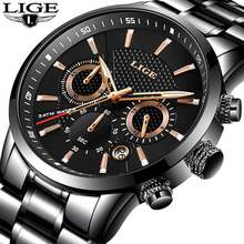 купить LIGE 2018 Watch Men Fashion Sport Quartz Clock Mens Watches Brand Luxury Full Steel Business Waterproof Watch Relogio Masculino по цене 1464.8 рублей