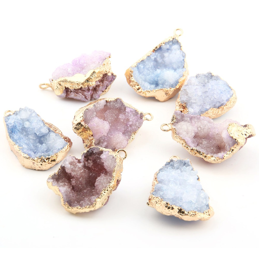 Natural Stone Quartz Irregular Shape Pendants Crystal Cluster Double Hole Connector For Jewelry Making DIY Necklace Accessorie