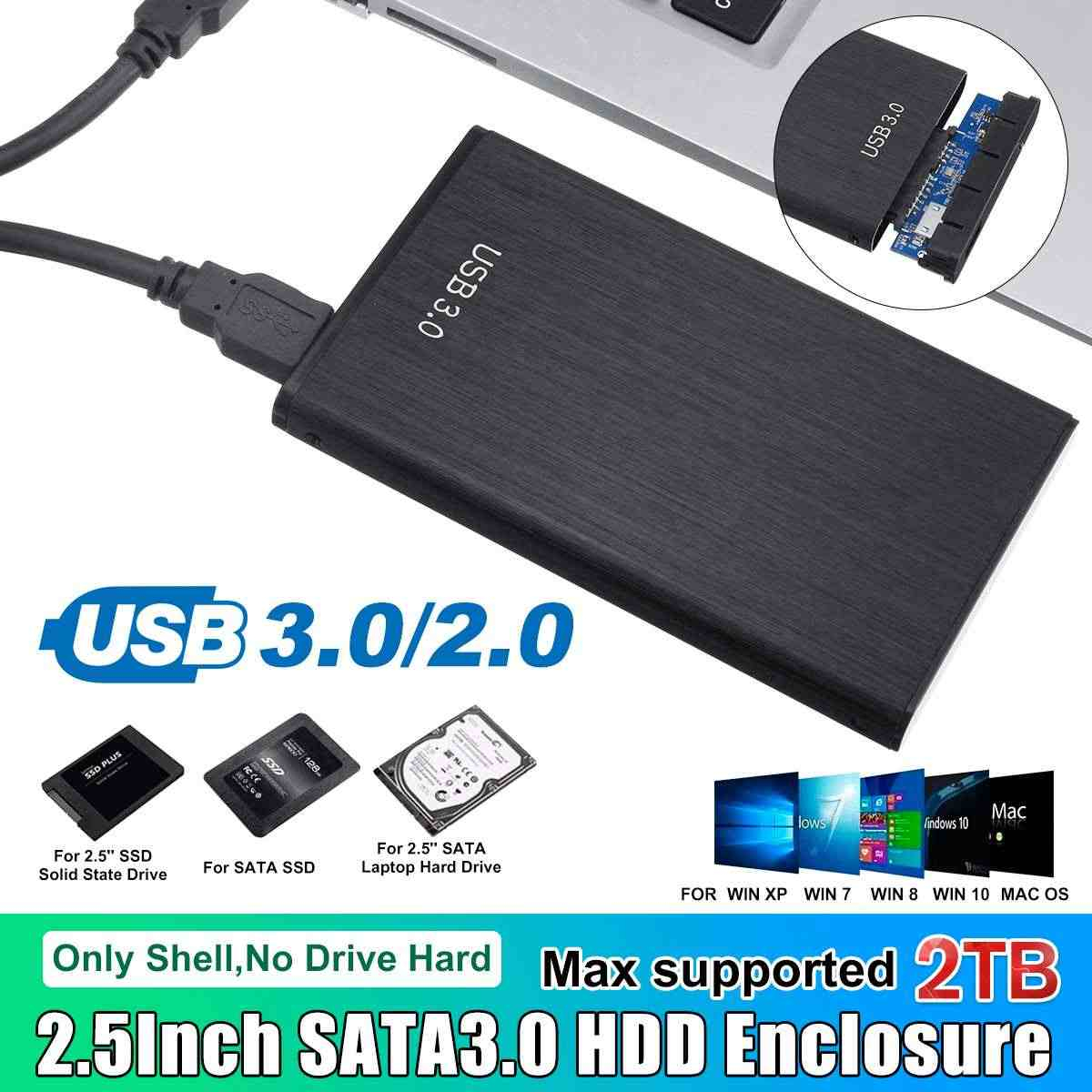 Leory HDD Case 2.5 SATA Ke USB 3.0 2.0 Adaptor Hard Drive Enclosure Support 2TB untuk SSD Disk Kotak kasus HD Eksternal HDD Kandang