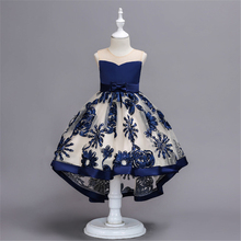 Flower Girls Dress Illusion Sleeveless Bow Lace Dark Blue Tulle Crystal O-Neck Knee-Length Luxury Kids Party Princess Gown