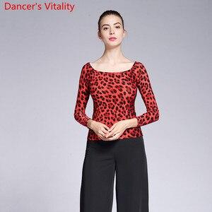 Image 3 - New Modern Dance Wear Adult Women Leopard 2 Type Neck Top Ballroom National Standard Waltz Jazz Dancing Practice Train Clothes