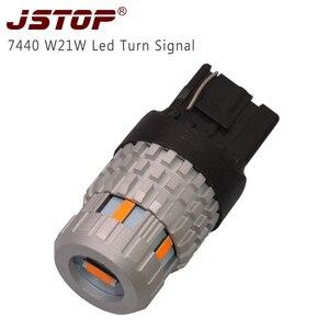 JSTOP 1x Янтарный светодиодный сигнал поворота 1156 py21w T20 W21W 7440 100% без ошибок Передний Задний сигнал поворота 1860SMD лампы поворота (без гипервспышк...