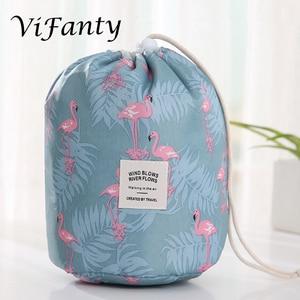 Image 5 - 旅行化粧品メイクアップバッグオーガナイザー男性女性トイレタリーバッグ大容量巾着化粧バッグブルー +