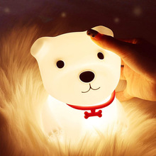 LED Night Lights Cute Dog Lamp Touch Sensor Remote Control RGB Kids Baby USB Lamps Bedroom Table Room Light Toy Bedside Decor