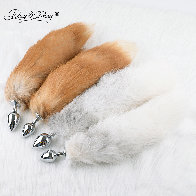 DAVYDAISY Sexy Silvery Metal M L Anal Plug Real Fox Tail Butt Plug Stainless Steel Women Adult Sex Accessories Cosplay AC121