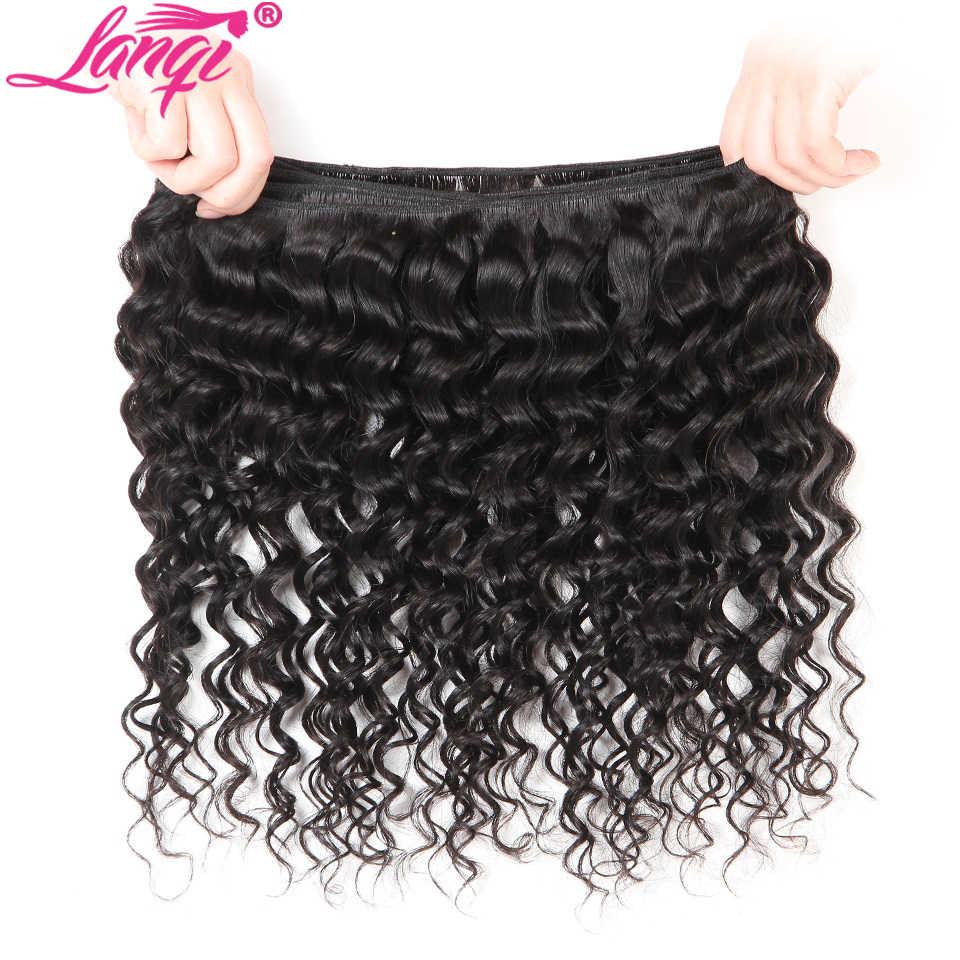 Derin dalga demetleri ile dantel kapatma İnsan saç kapatma ile 3 demetleri olmayan remy brezilyalı saç örgü demetleri Lanqi