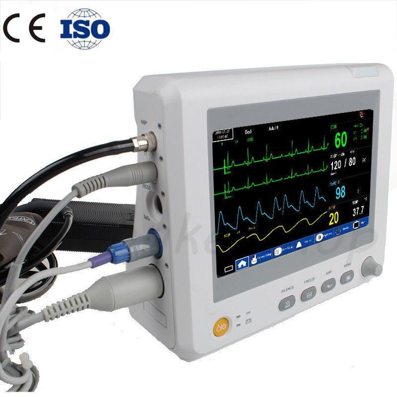 8 Inch 6 Parameters Patient Monitor NIBP,Spo2, PR,ECG,RESP,TEMP ICU/CCU Multi-parameters Patient Monitor