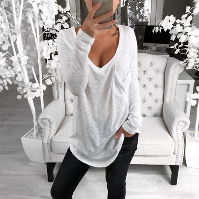Women's T-shirt Autumn Sexy V Neck Basic Shirts Women Solid Pink Gray Ladies Spring  Long sleeve Loose Tee Female Tops