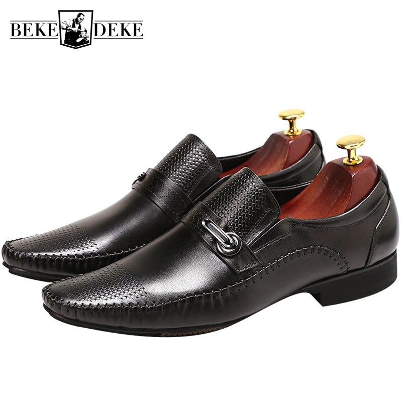 Mocassins en cuir véritable de marque pointus décontracté respirant hommes chaussures de luxe sans lacet noir marron robe bureau chaussures formelles Mocassin-in Chaussures d'affaires from Chaussures    1